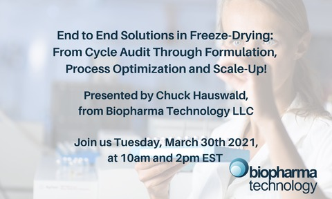 Chuck Hauswald, from Biopharma Technology LLC will be guest speaker at the SP LyoLean webinar